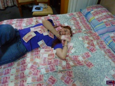 Gabe rolling on the Money Bed.